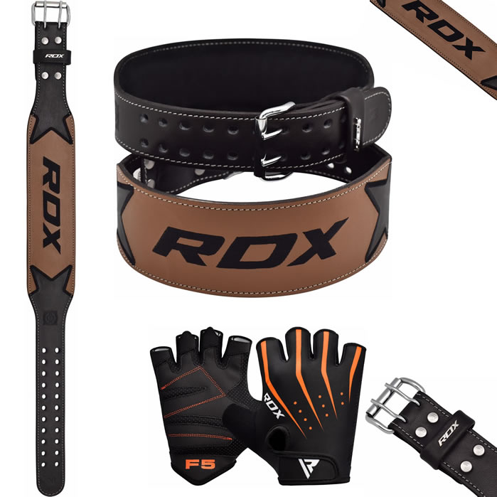 Rdx Weight Lifting Gloves Training Bodybuilding Gym Power: RDX Leather Weight Lifting Belt & Gloves Training Gym