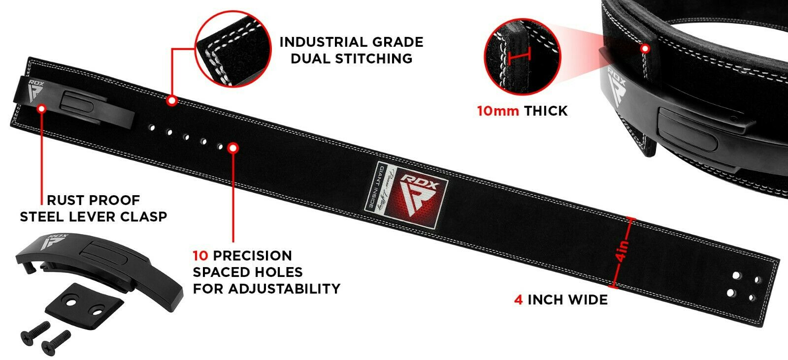 Small Gym Bodybuilding Black Leather Fitness Lifting: RDX Leather Weight Lifting Belt Powerlifting Bodybuilding